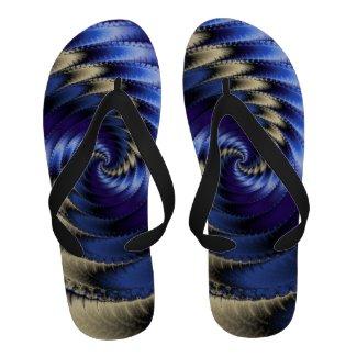 Blue And Grey Spiral Fractal Flip Flops
