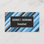 [ Thumbnail: Blue and Grey Stripes Business Card ]