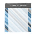 [ Thumbnail: Blue and Grey Stripes + Custom Name Notepad ]