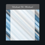 """Blue and Grey Stripes   Custom Name Notepad<br><div class=""""desc"""">This notepad design features stripes colored various shades of blue and grey. It also features a custom name at the top.</div>"""