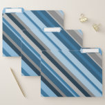[ Thumbnail: Blue and Grey Stripes File Folders ]