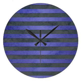 Blue and Grey Stripes Pattern Wallclocks