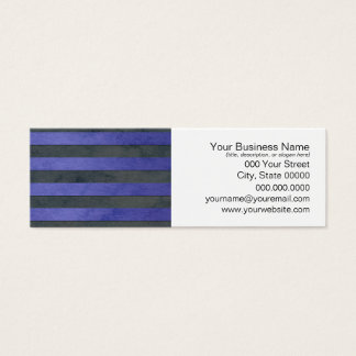 Blue and Grey Stripes Pattern Mini Business Card