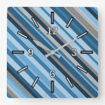 [ Thumbnail: Blue and Grey Stripes Square Clock ]