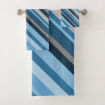 [ Thumbnail: Blue and Grey Stripes Towel Set ]