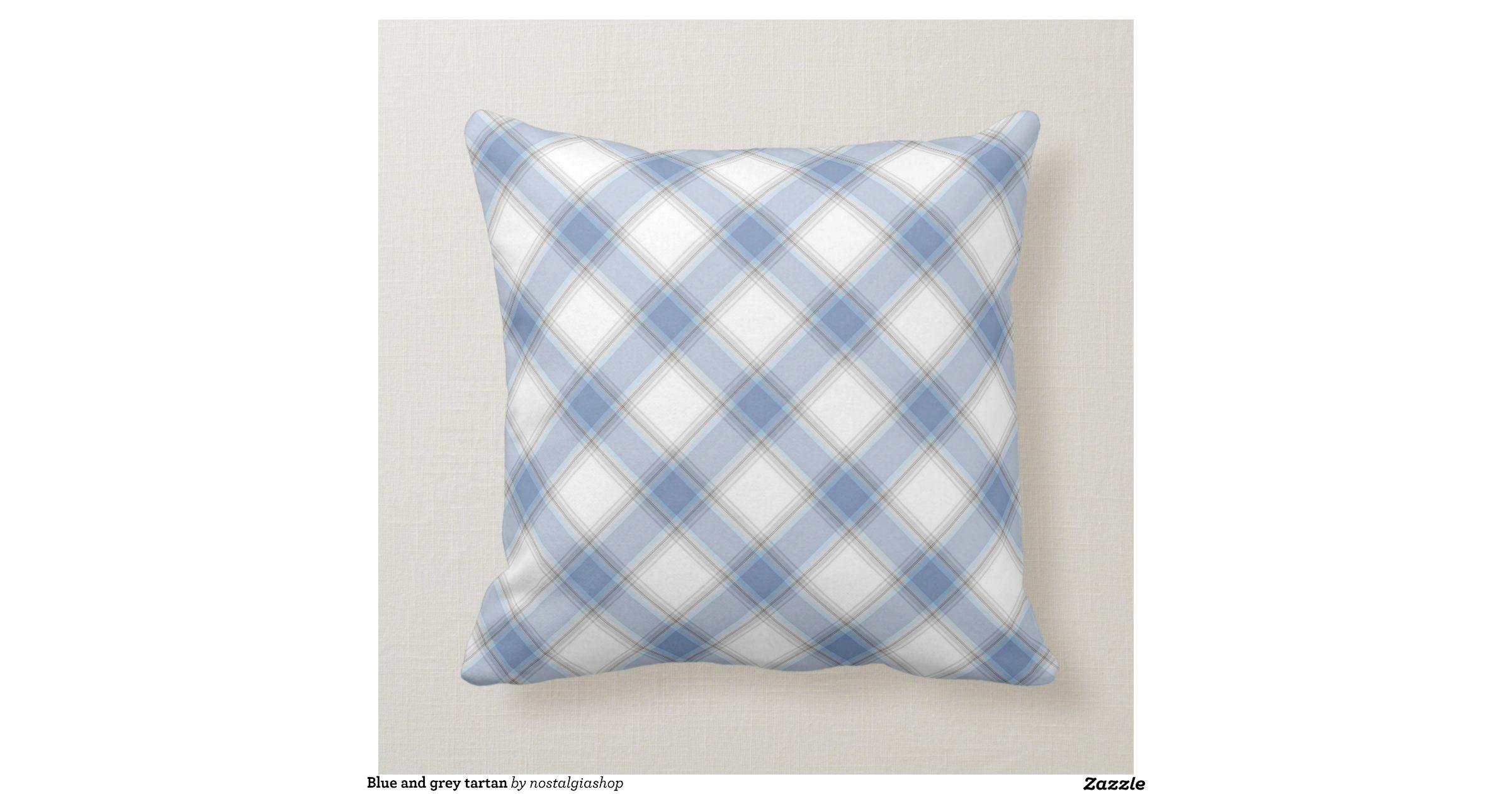 Greyish Blue Throw Pillows : Blue and grey tartan throw pillows Zazzle