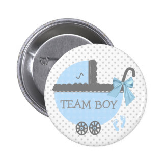 Blue and Grey Team Boy Baby Carriage Shower Button