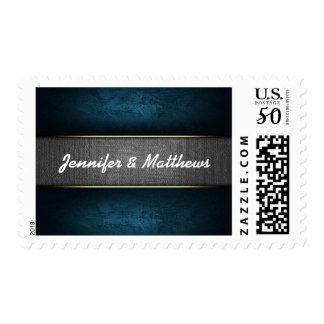 Blue and Grey-white elegant wedding invite postage