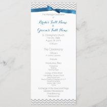 Blue and Grey Zigzag Pattern Wedding Program