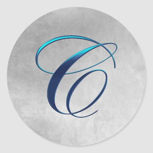 Blue and Grunge Elegant Monogram C Stickers