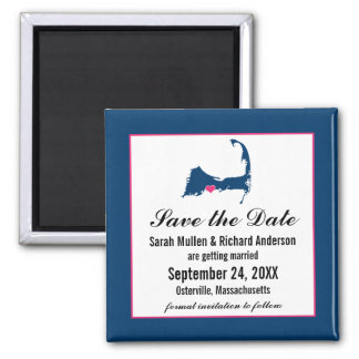Blue and Hot Pink Cape Cod Map Save the Date 2 Inch Square Magnet