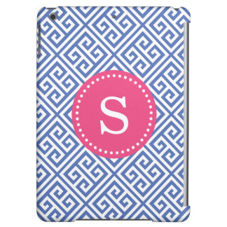Blue and Hot Pink Greek Key Custom Monogram iPad Air Cover