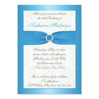 Blue and Ivory Damask 50th Birthday Invite