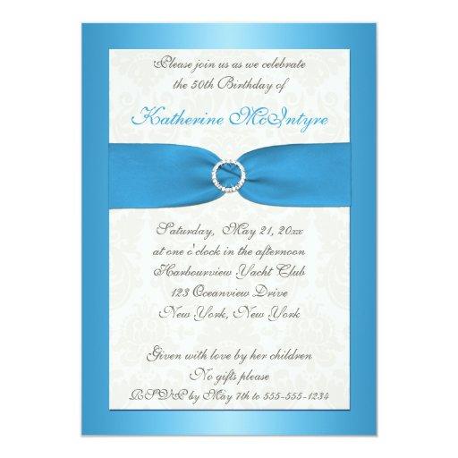 "Blue and Ivory Damask 50th Birthday Invite 5"" X 7"" Invitation Card"
