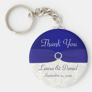 Blue and Ivory Damask Wedding Favor Key Chain