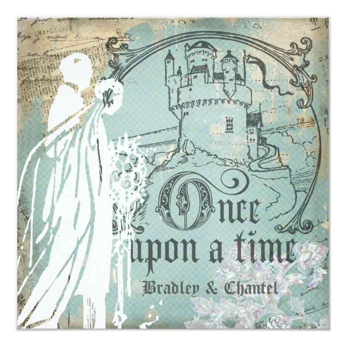 blue and ivory once upon a time invitation zazzle. Black Bedroom Furniture Sets. Home Design Ideas