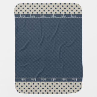 Blue and Ivory Polka Dot Baby Blanket