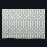 "Blue and Ivory Trellis | Modern Farmhouse Cloth Placemat<br><div class=""desc"">Stylish place mat with a rustic neutral pattern. Please note that the subtle linen background texture is part of the printed design and the product is not made of real linen fabric. Click the Customize It button to add your own text and photos to create a unique one of a...</div>"