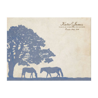 Blue and Ivory Vintage Horse Farm Guest Book