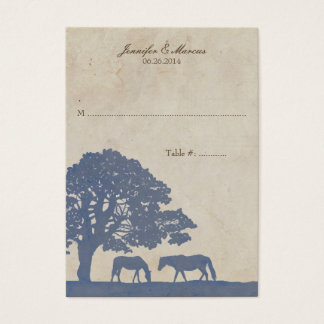 Blue and Ivory Vintage Horse Farm Place Card