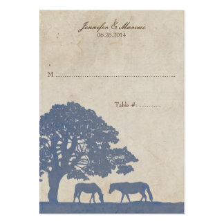 Blue and Ivory Vintage Horse Farm Place Card Large Business Cards (Pack Of 100)