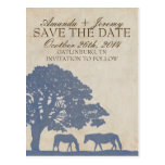 Blue and Ivory Vintage Horse Farm Save The Date Post Card