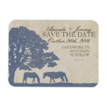 Blue and Ivory Vintage Horse Farm Save The Date Rectangular Magnets