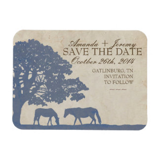 Blue and Ivory Vintage Horse Farm Save The Date Rectangular Photo Magnet