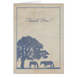 Blue and Ivory Vintage Horse Farm Thank You Cards