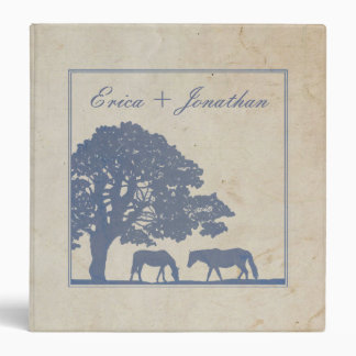 Blue and Ivory Vintage Horse Farm Wedding Vinyl Binder