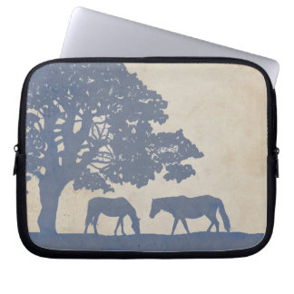 Blue and Ivory Vintage Horse Farm Wedding Computer Sleeve