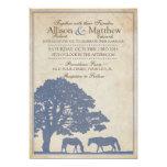 Blue and Ivory Vintage Horse Farm Wedding Custom Invitation