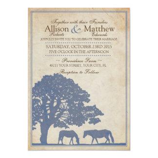 Blue and Ivory Vintage Horse Farm Wedding 5x7 Paper Invitation Card