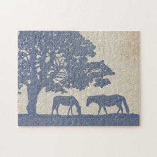 Blue and Ivory Vintage Horse Farm Wedding Jigsaw Puzzle