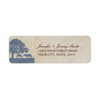 Blue and Ivory Vintage Horse Farm Wedding Return Address Label