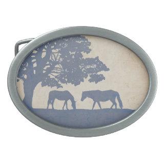 Blue and Ivory Vintage Horse Farm Wedding Oval Belt Buckle