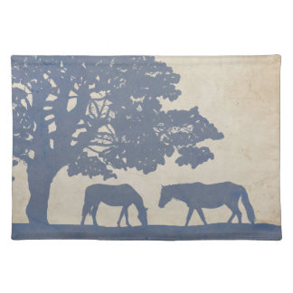 Blue and Ivory Vintage Horse Farm Wedding Placemat
