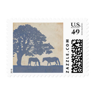 Blue and Ivory Vintage Horse Farm Wedding Postage Stamps