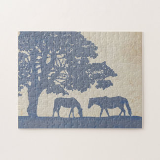 Blue and Ivory Vintage Horse Farm Wedding Puzzle