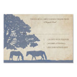Blue and Ivory Vintage Horse Farm Wedding rsvp Invite