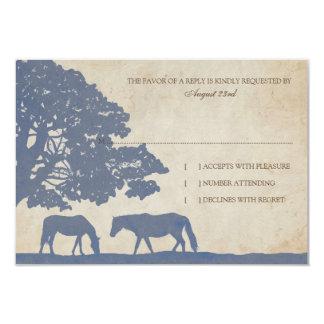 Blue and Ivory Vintage Horse Farm Wedding rsvp 3.5x5 Paper Invitation Card