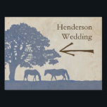 "Blue and Ivory Vintage Horse Farm Wedding Yard Sign<br><div class=""desc"">This denim blue and beige cream tan colored elegant and classic equestrian driving directions sign features two grazing horses under a giant grandfather oak tree in a pasture landscape such as found on an old plantation or thoroughbred farm in the country. A very stylish and tasteful design for any southern...</div>"