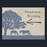 """Blue and Ivory Vintage Horse Farm Wedding Yard Sign<br><div class=""""desc"""">This denim blue and beige cream tan colored elegant and classic equestrian driving directions sign features two grazing horses under a giant grandfather oak tree in a pasture landscape such as found on an old plantation or thoroughbred farm in the country. A very stylish and tasteful design for any southern...</div>"""