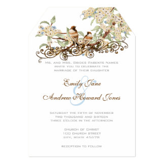 blue and ivory vintage love bird wedding invites - Love Birds Wedding Invitations