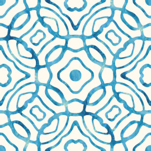 Blue And Ivory Watercolor Quatrefoil Block Print Shower Curtain