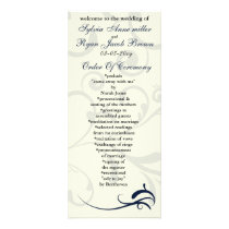 blue and ivory Wedding program Rack Card