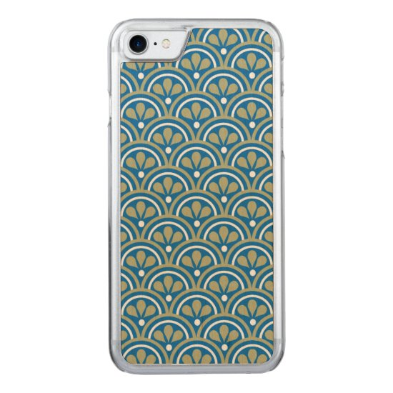 Blue And Khaki Floral Art Deco Pattern Carved iPhone 7 Case