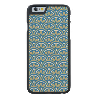 Blue And Khaki Floral Art Deco Pattern Carved® Maple iPhone 6 Case