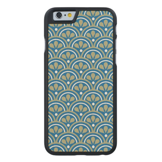 Blue And Khaki Floral Art Deco Pattern Carved Maple iPhone 6 Case