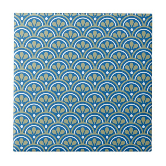 Blue And Khaki Floral Art Deco Pattern Ceramic Tile